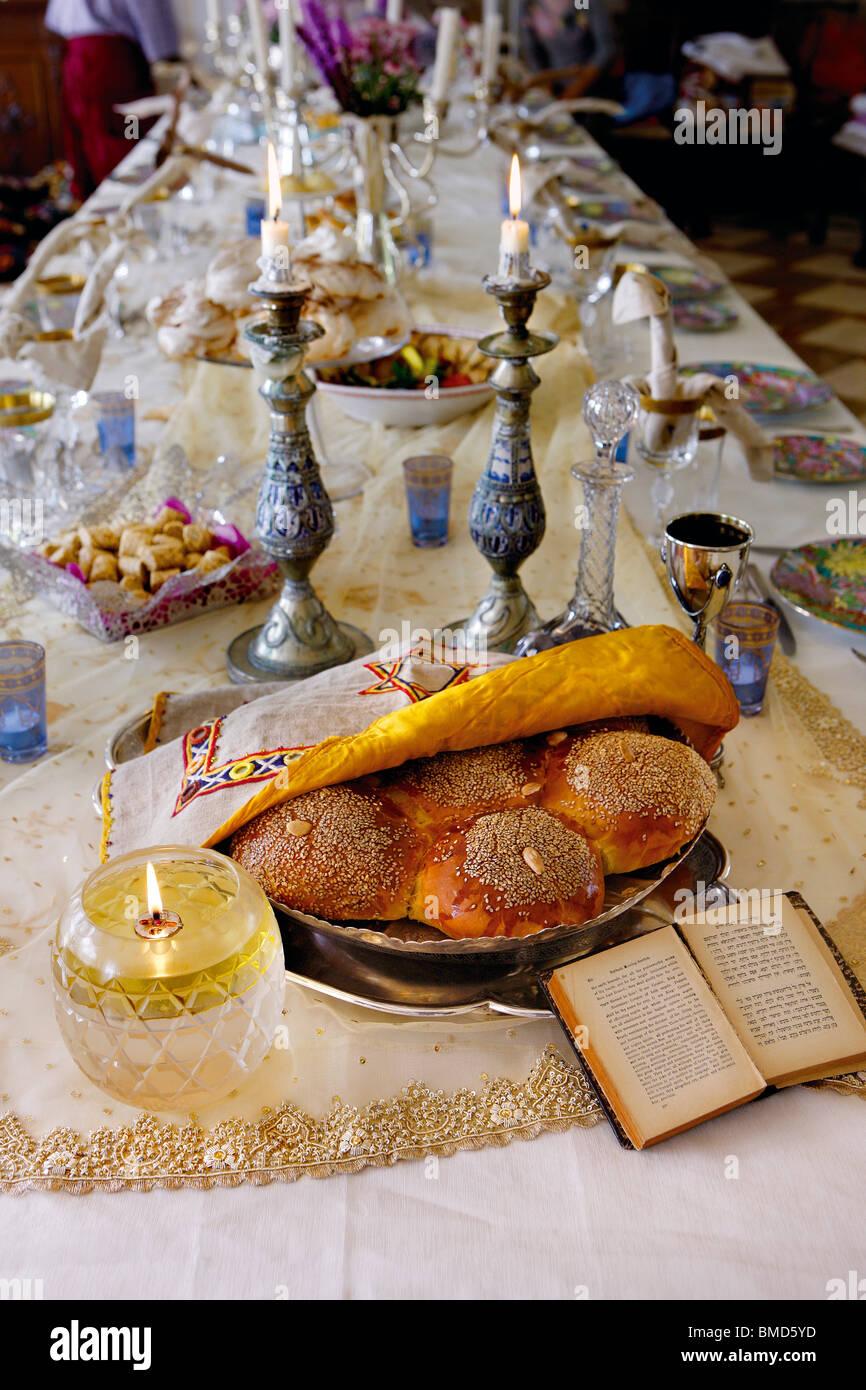 Sabbath Table Setting - Stock Image
