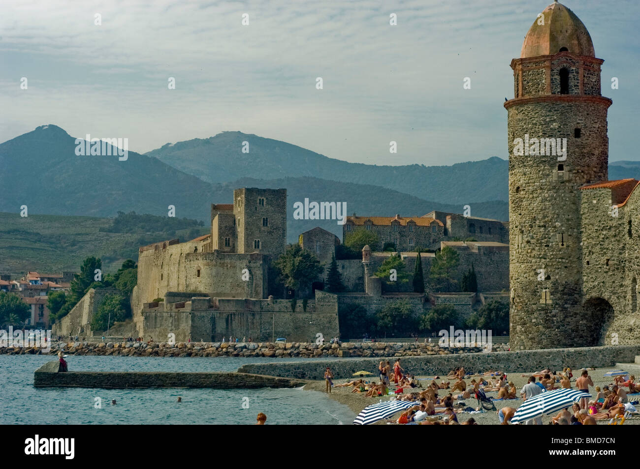 Calliore, South of France, Beach Town,  Overview  on Mediterranean Sea, South of France.  Eglise Notre Dame de Anges Stock Photo