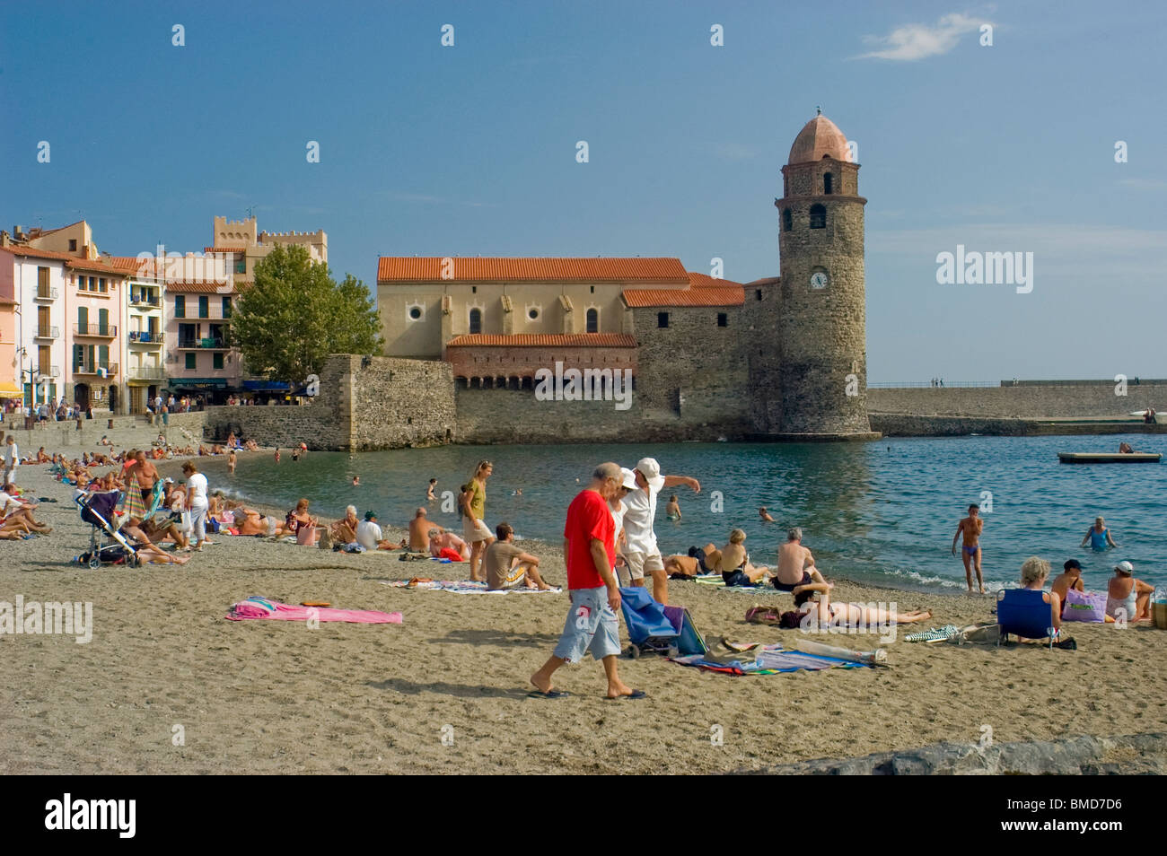 Calliore, France, Tourists on Holiday in South of France Coastal Town, Near Perpignan, Stock Photo