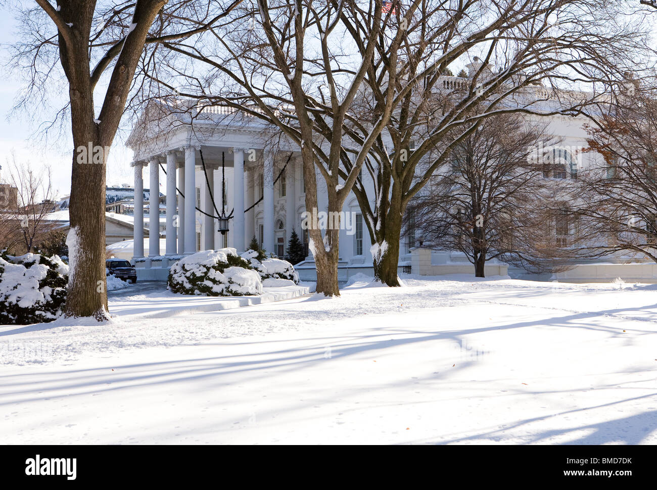 The White House grounds following a snow storm. - Stock Image