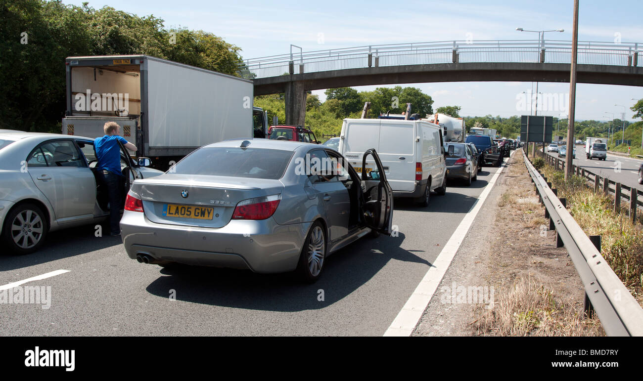 Traffic Jam - M1 Motorway - North London - Stock Image