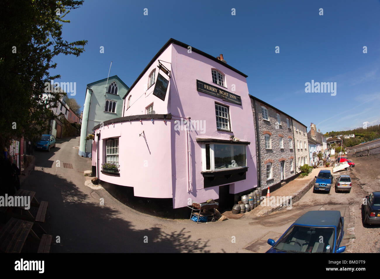 UK, England, Devon, Dittisham, Ferry Boat Inn overlooking River Dart, fisheye wide angle view - Stock Image