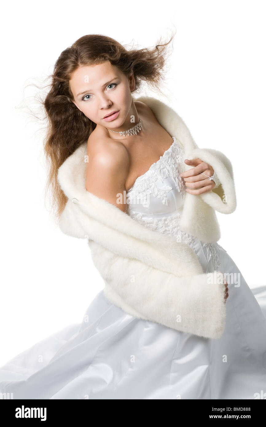 Beautiful Romantic Bride With Flying Hair In A Wedding Dress And A