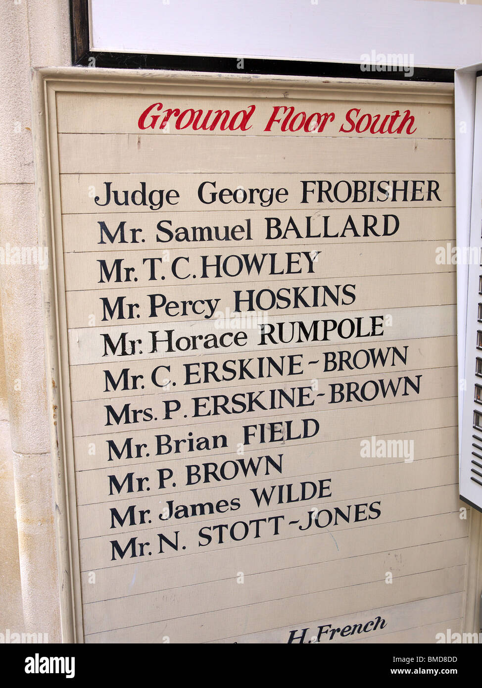 List of famous legal names outside a London barristers' chambers - Stock Image