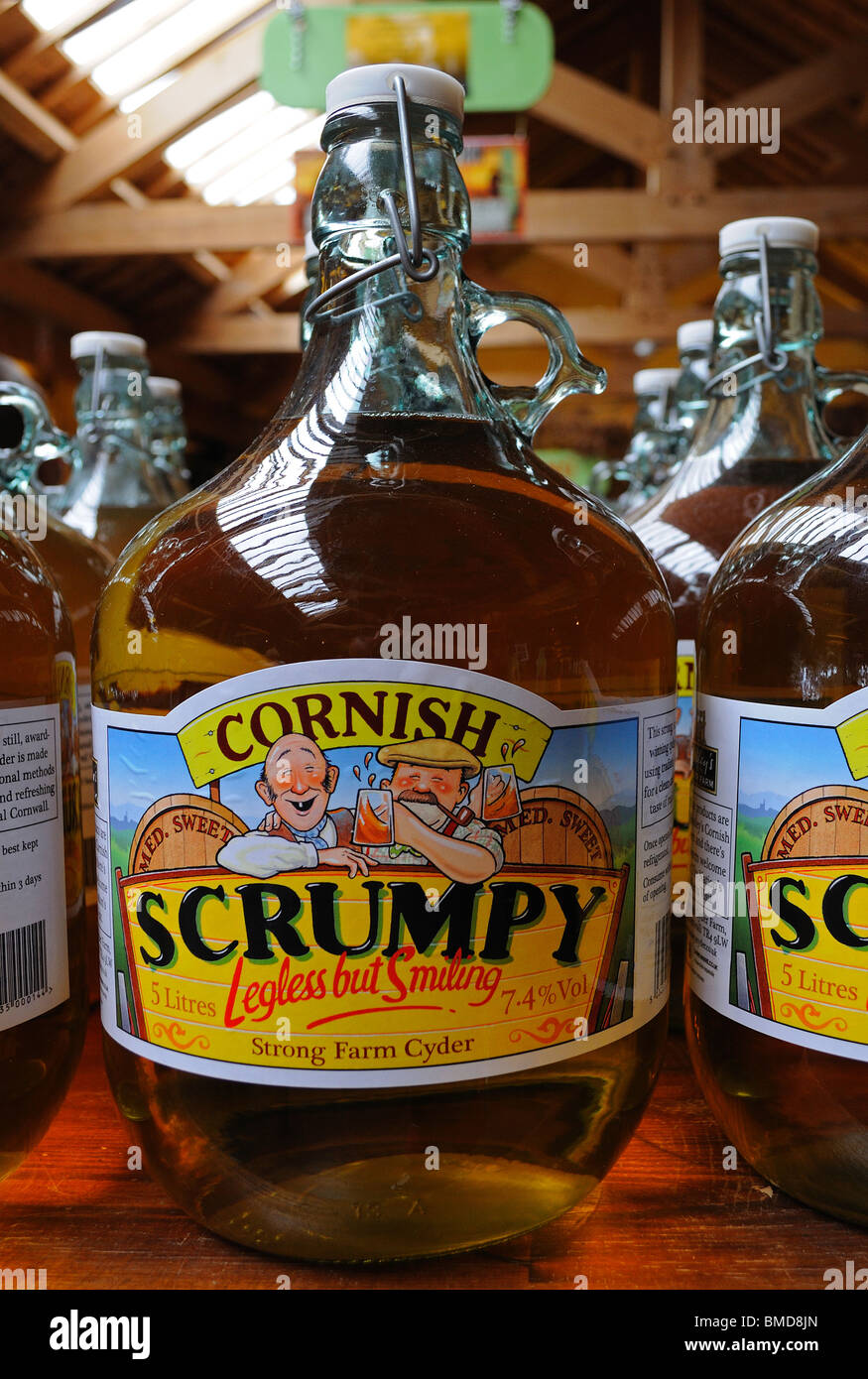 flagons of cornish scrumpy cider , truro, cornwall, uk Stock Photo