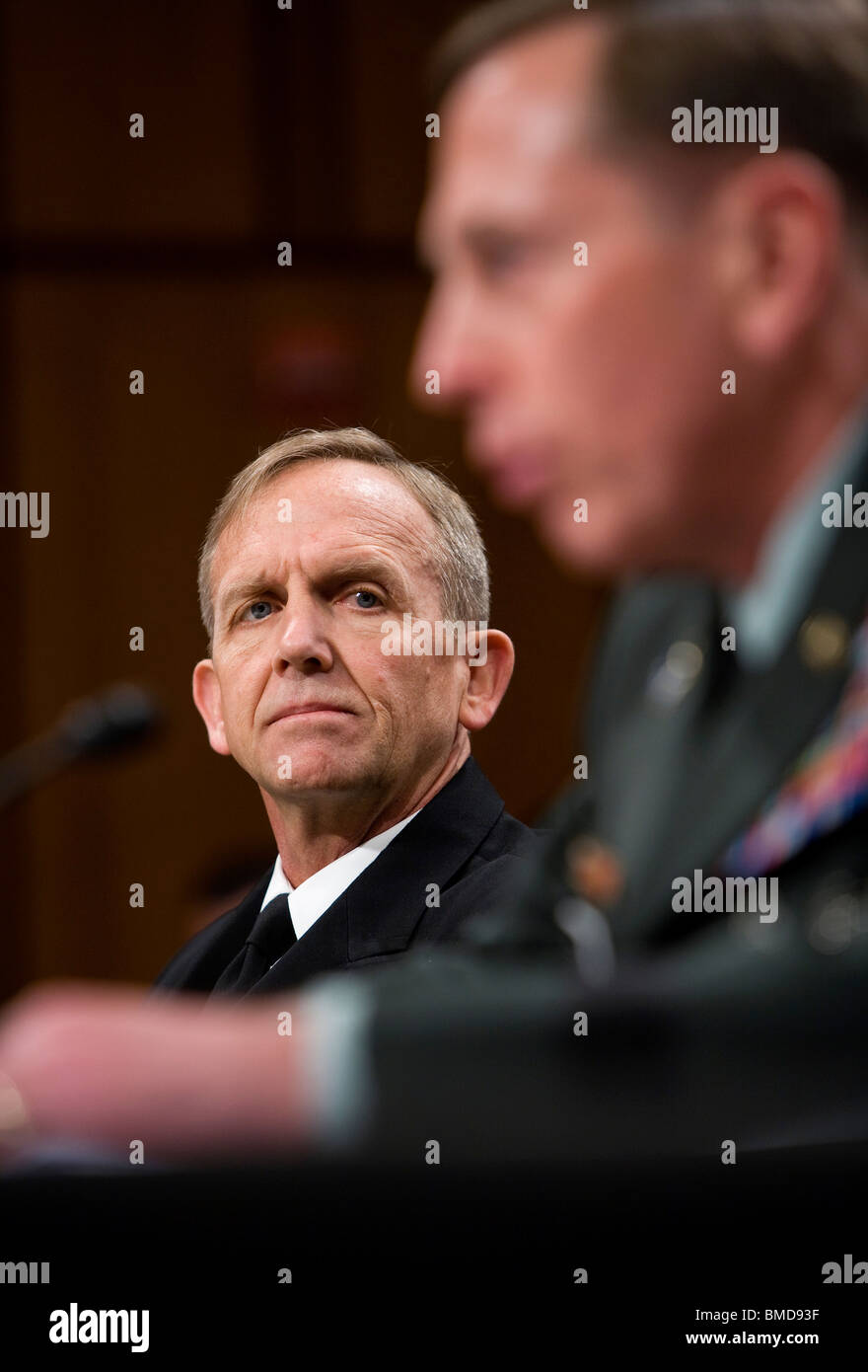 Admiral Eric Olson and General David Petraeus. - Stock Image