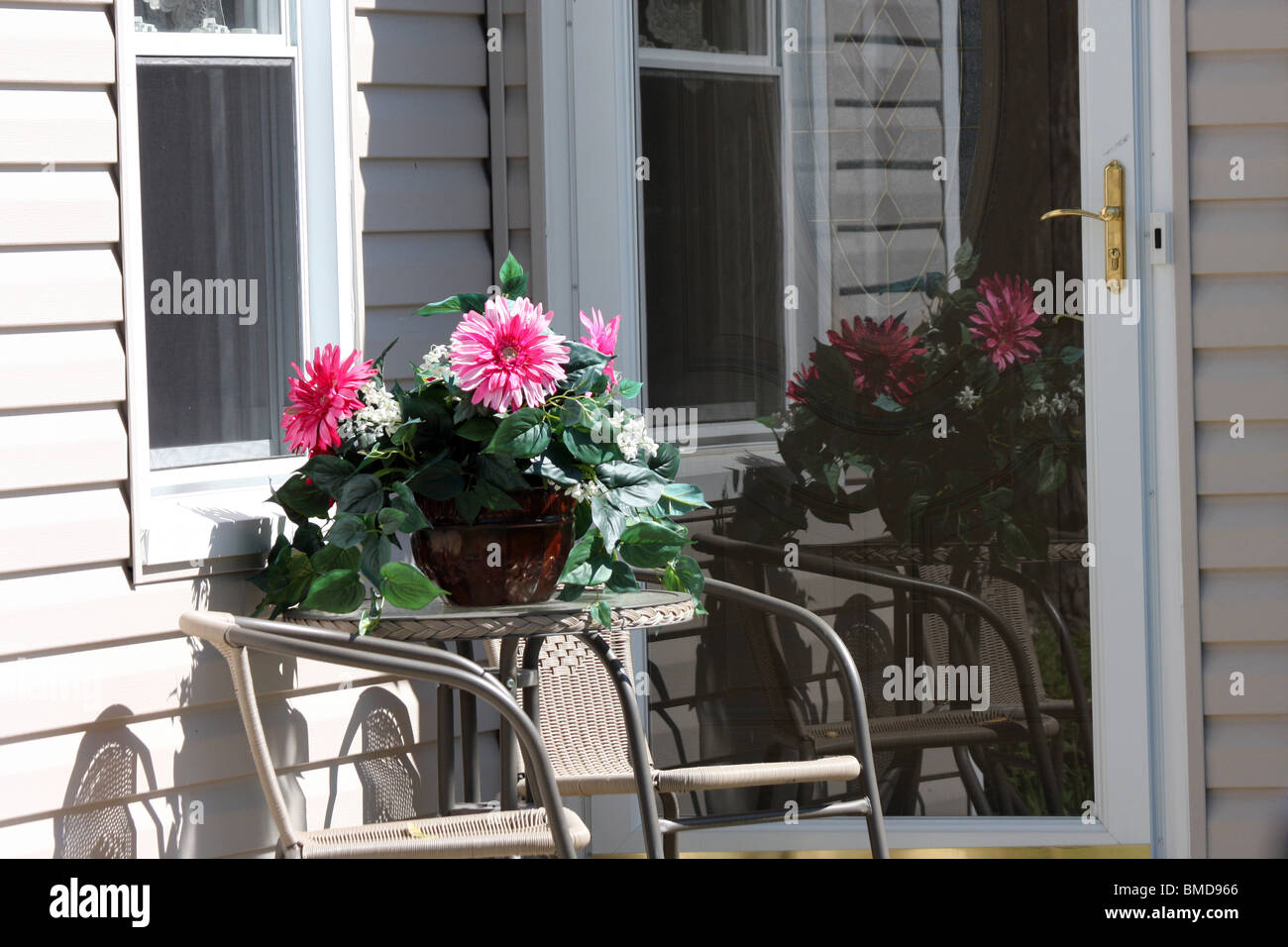 A plant on the porch of a residential home - Stock Image