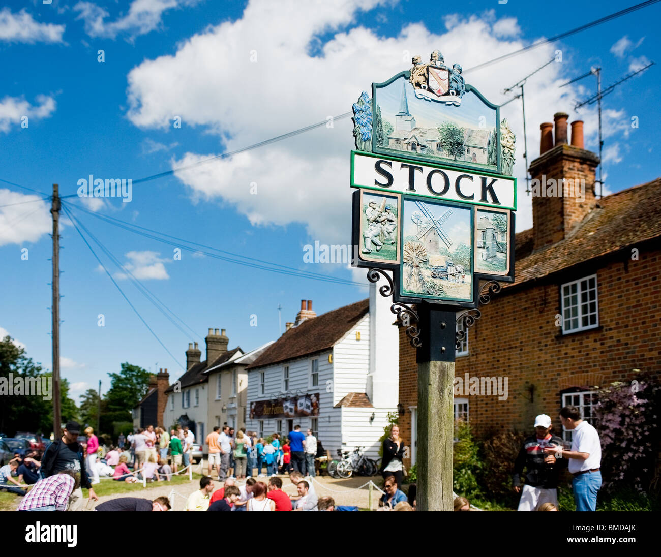 The Stock Village sign in Essex.  Photo by Gordon Scammell - Stock Image