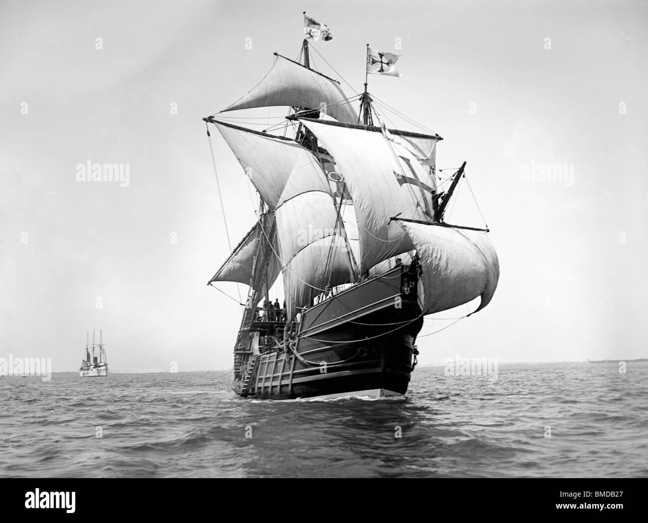 Spanish caravel Santa Maria - A replica of Christopher Columbus' ship, 1893 - Stock Image