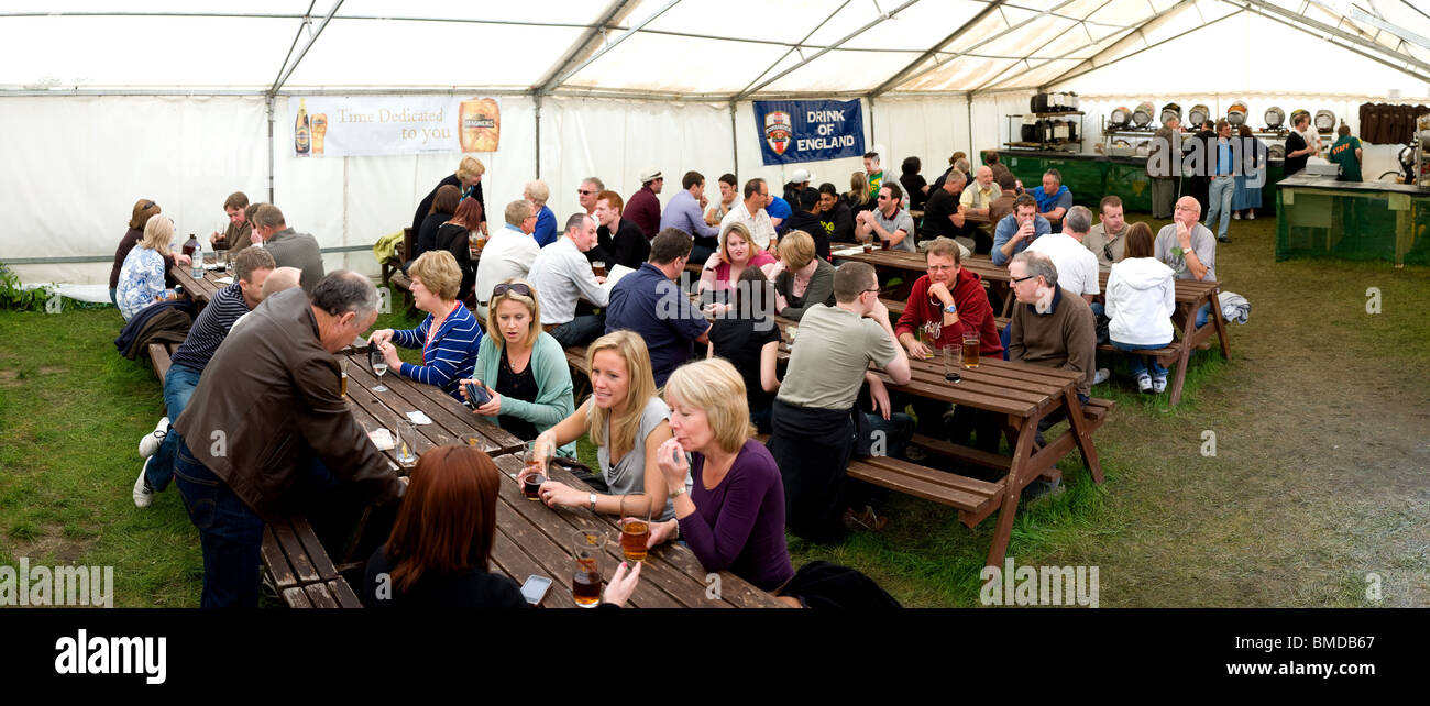 A panoramic view of the interior of the marquee at the Hoop Pub Beer Festival in Essex.  Photo by Gordon Scammell - Stock Image