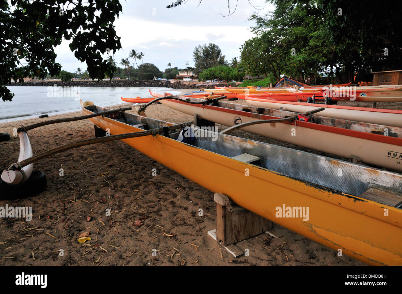 Modern outrigger canoes at the Outrigger Canoe Club, Haleiwa, Oahu, Hawaii, USA - Stock Image