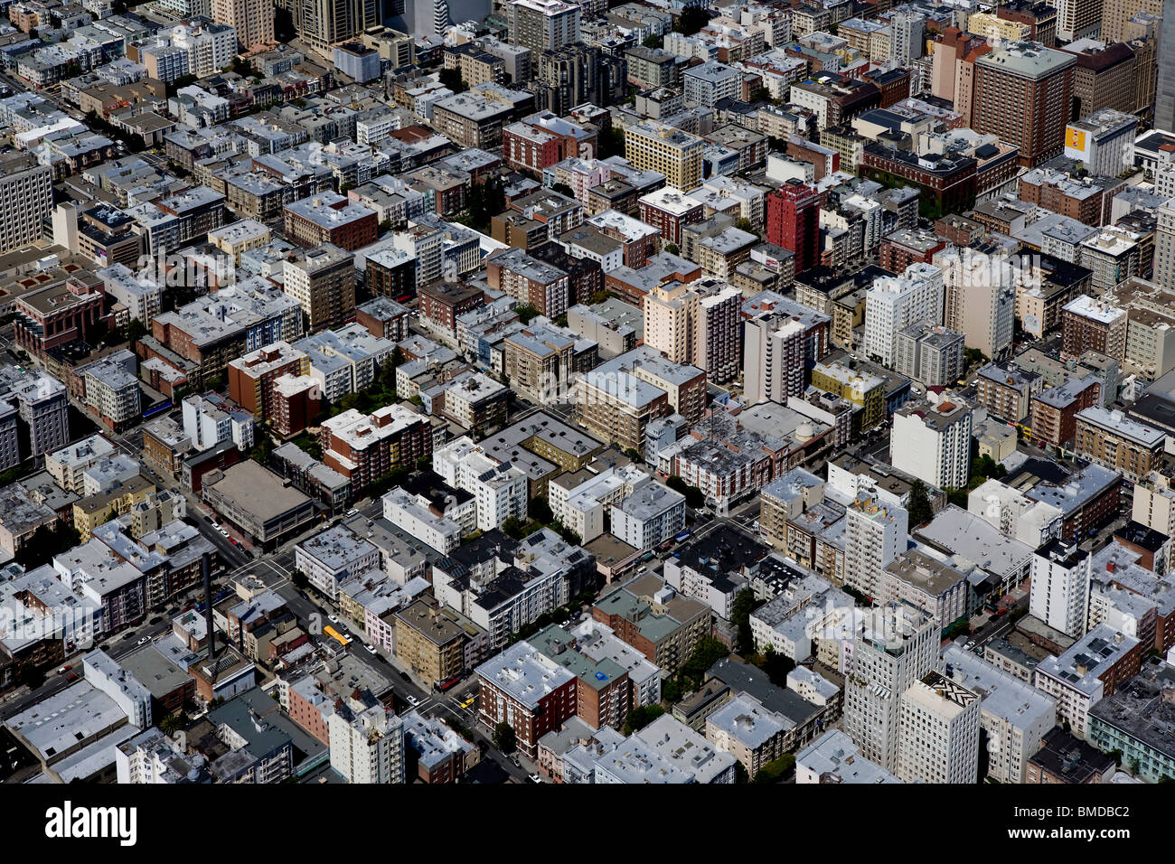 aerial photo residential apartment buildings San Francisco California - Stock Image