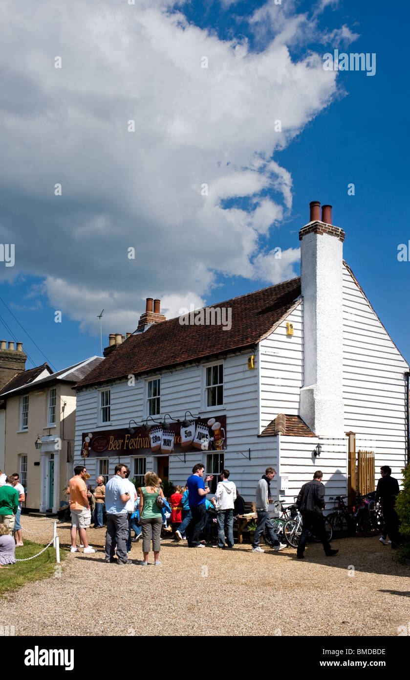 Customers outside the Hoop Public House in the village of Stock in Essex.  Photo by Gordon Scammell - Stock Image