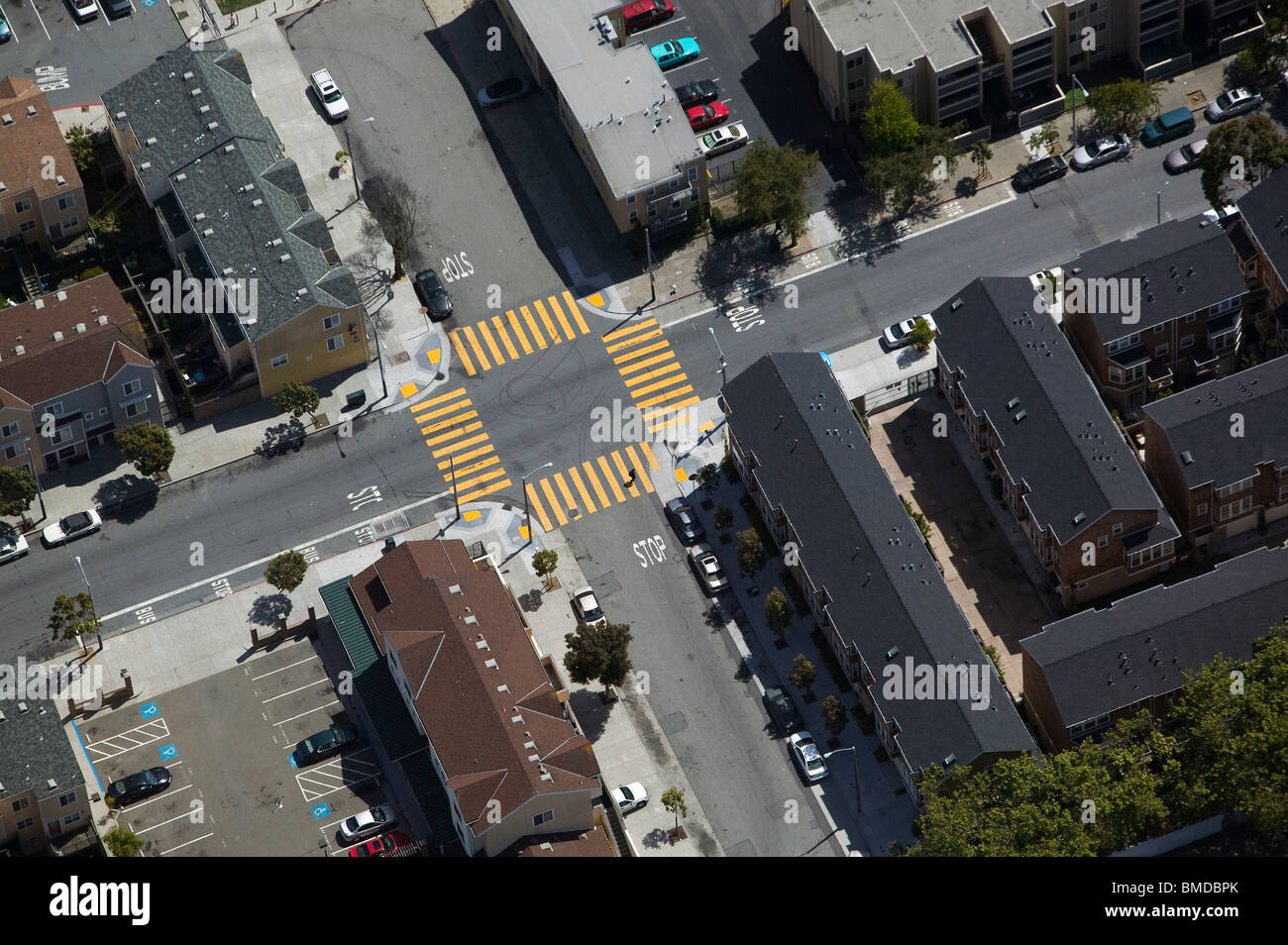 aerial view above four way urban intersection crosswalk San Francisco California - Stock Image