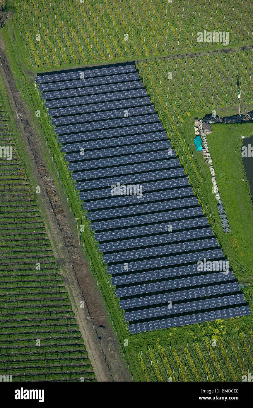 aerial view above solar panel array vineyard Napa Valley California - Stock Image