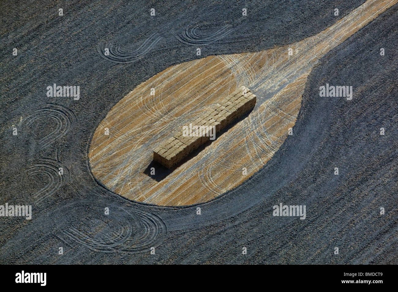 aerial view above hay harvest Sonoma county California - Stock Image