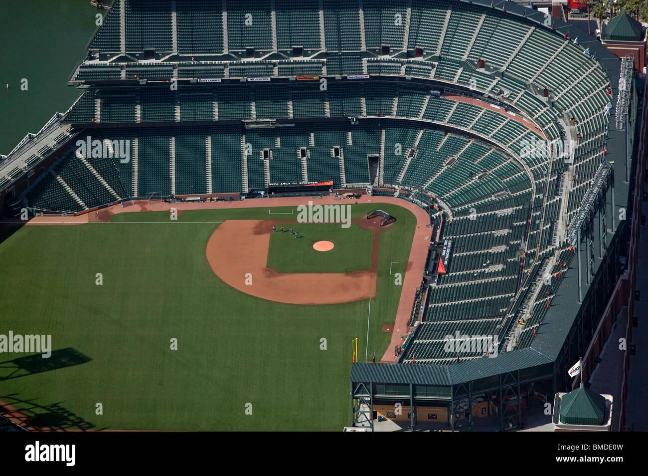 aerial view above baseball diamond empty stadium AT&T Park San Francisco California - Stock Image