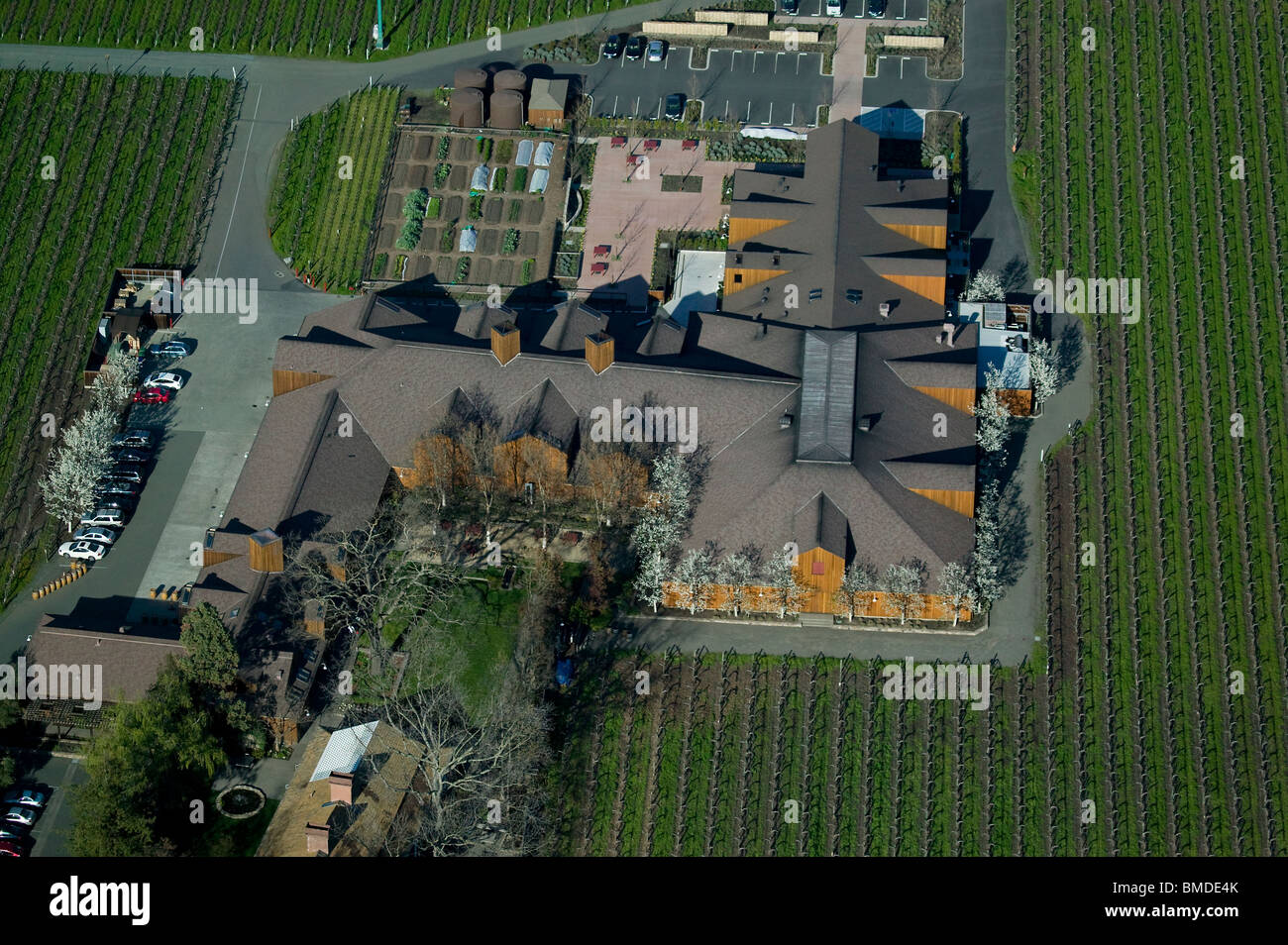 Aerial View Above Winery Vineyard Napa Valley California