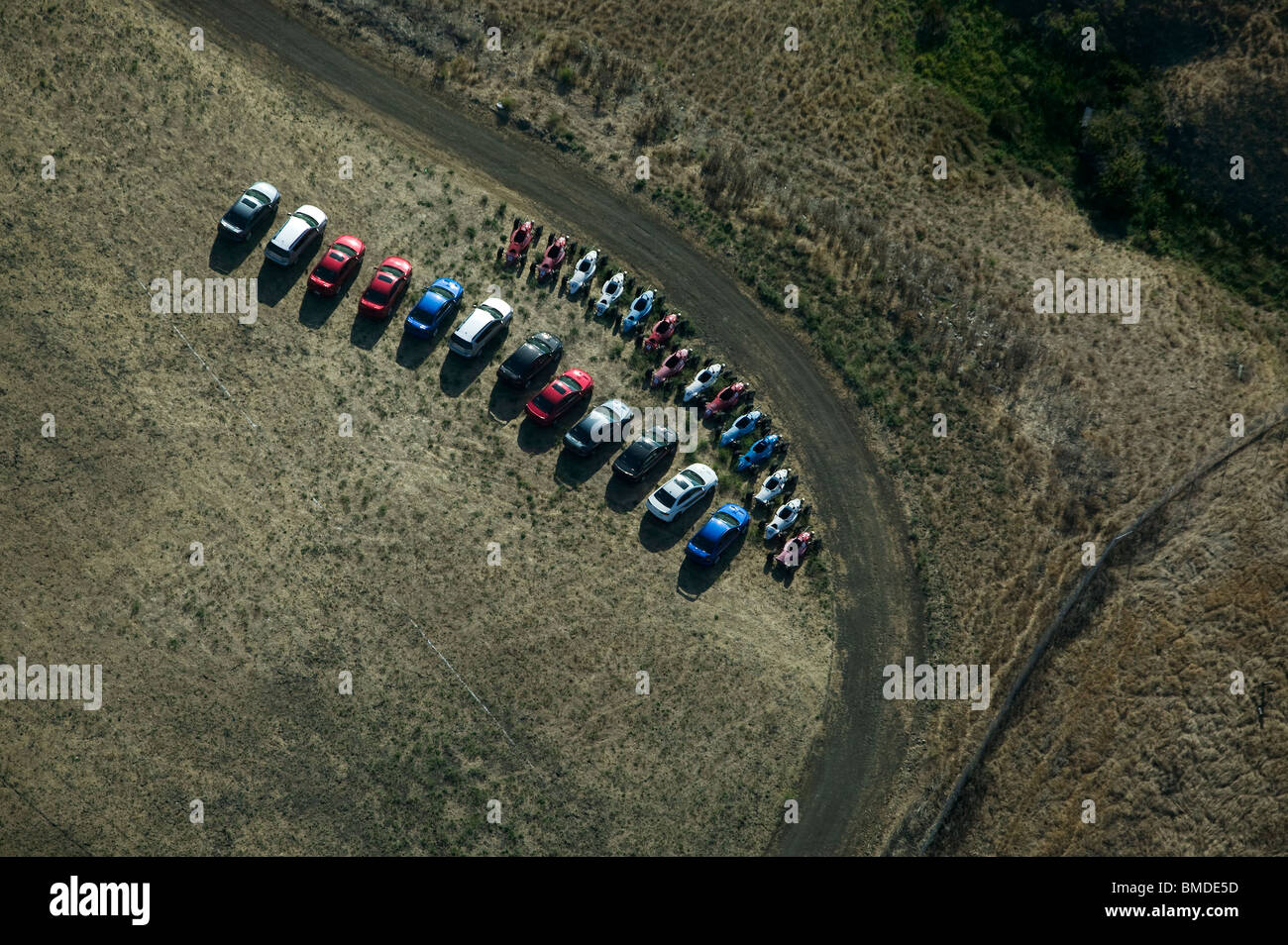 aerial view above cars go carts parked Infineon Raceway Sonoma county - Stock Image