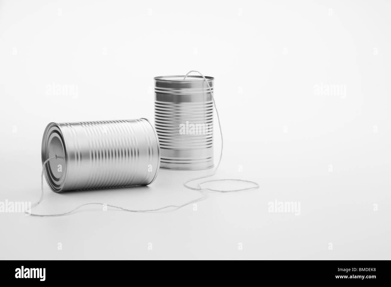 Tin Can Telephone Stock Photo