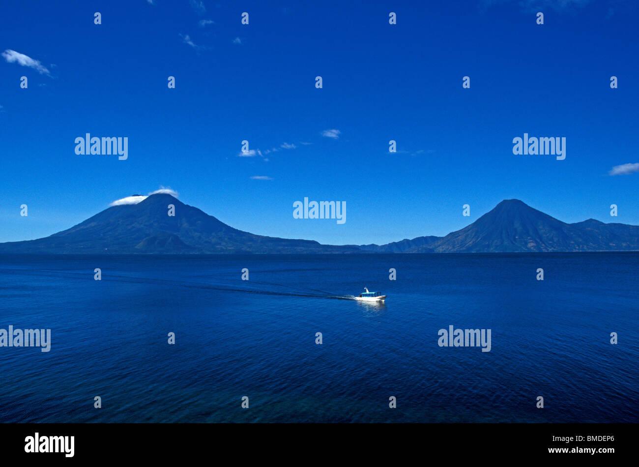 Ferry boat crossing Lake Atitlan, Guatemala - Stock Image