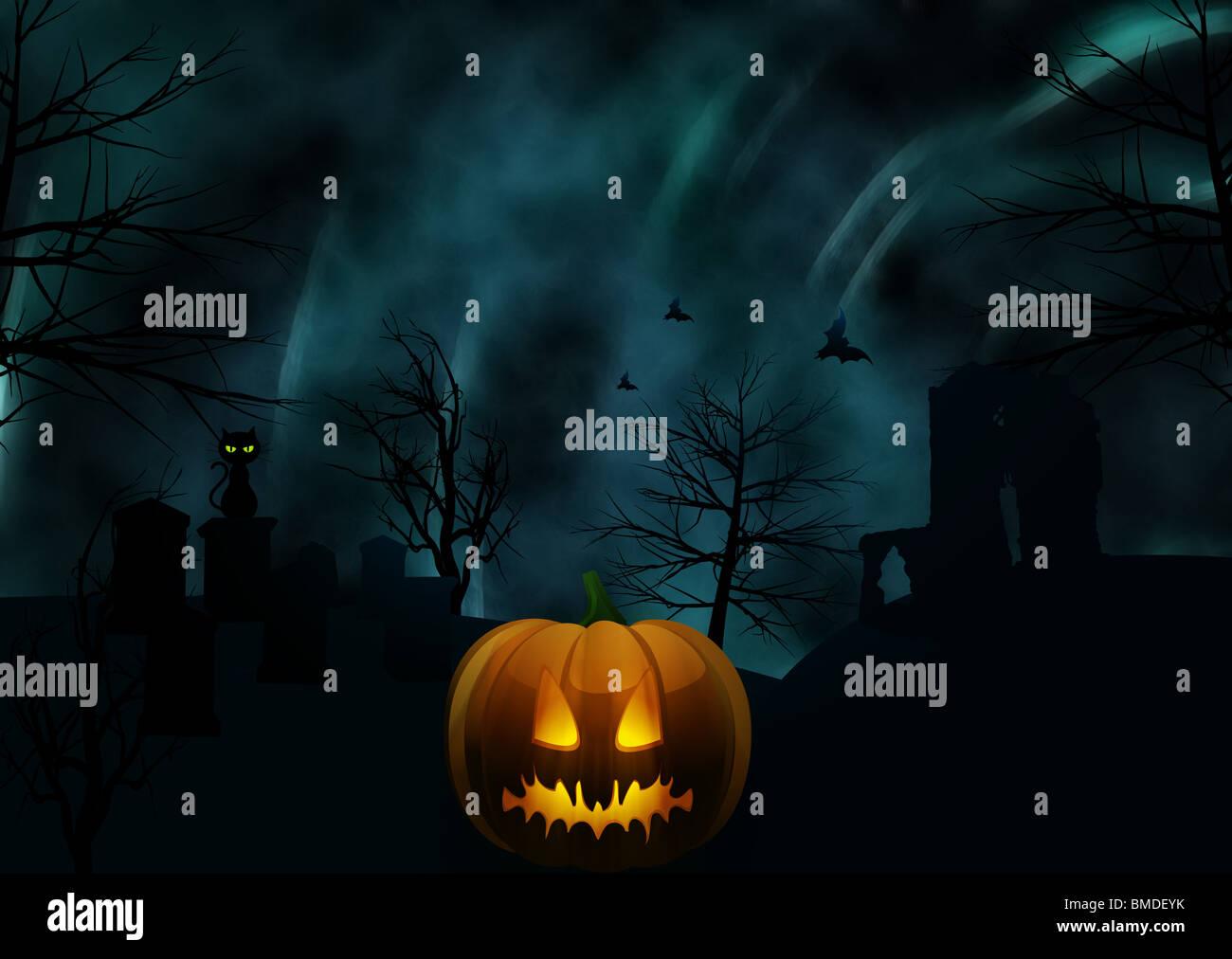 Halloween Graveyard Scene With Glowing Pumpkin And Black Cat