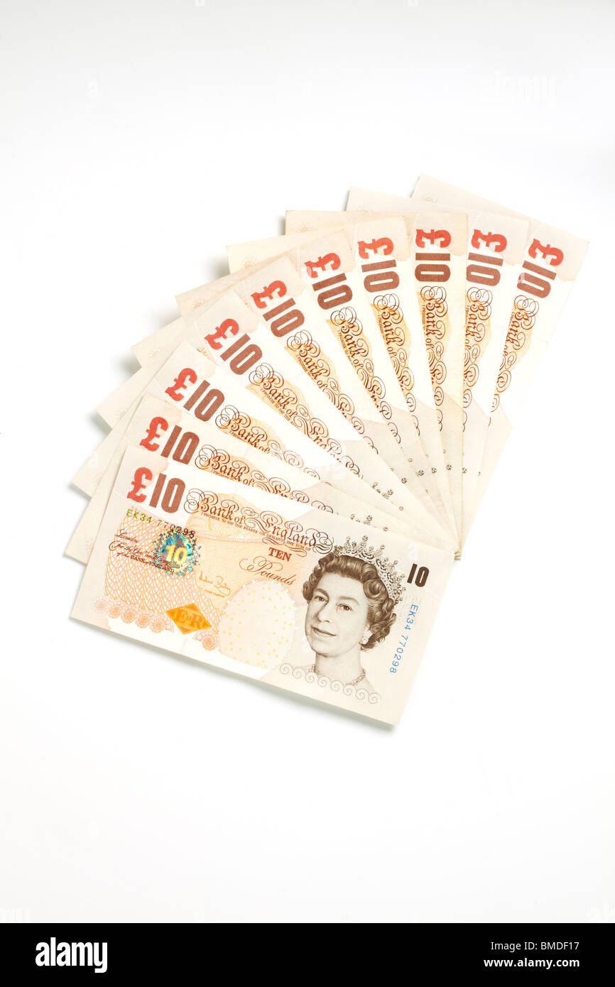 One Hundred Pounds in Ten Pound Notes Stock Photo