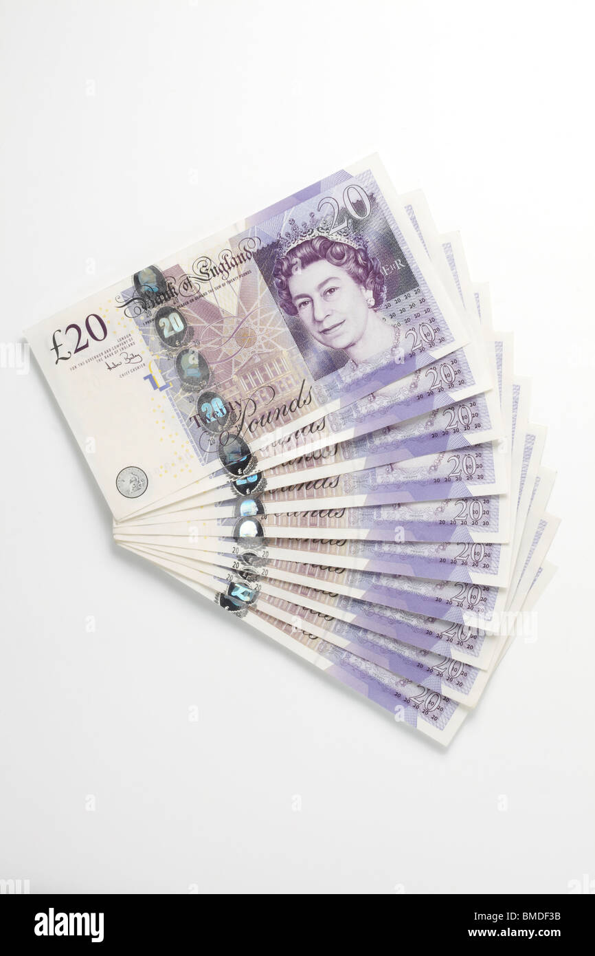 Fan of Twenty Pound Notes Stock Photo