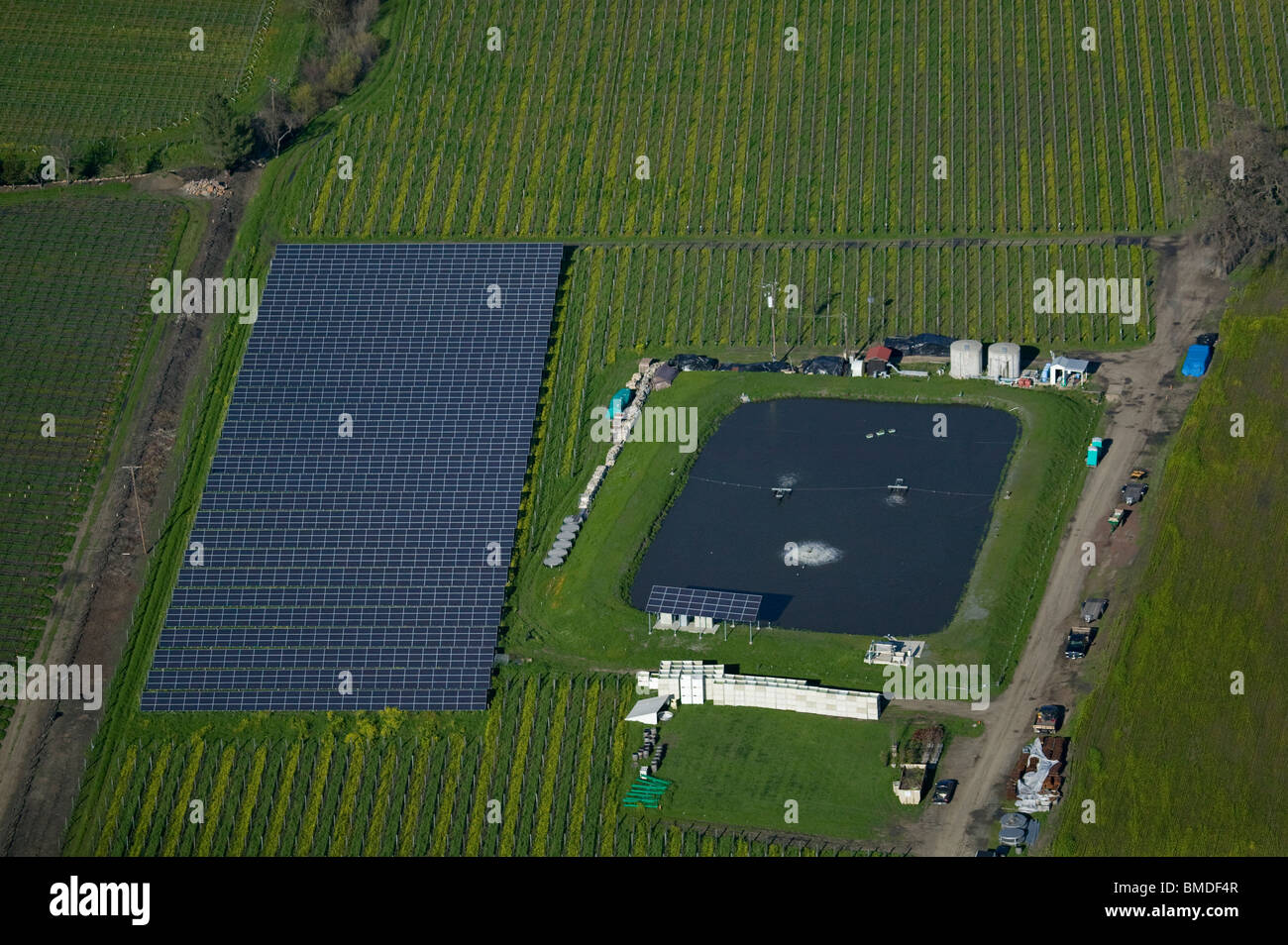 aerial view above solar panels irrigation pond Napa Valley California vineyard - Stock Image