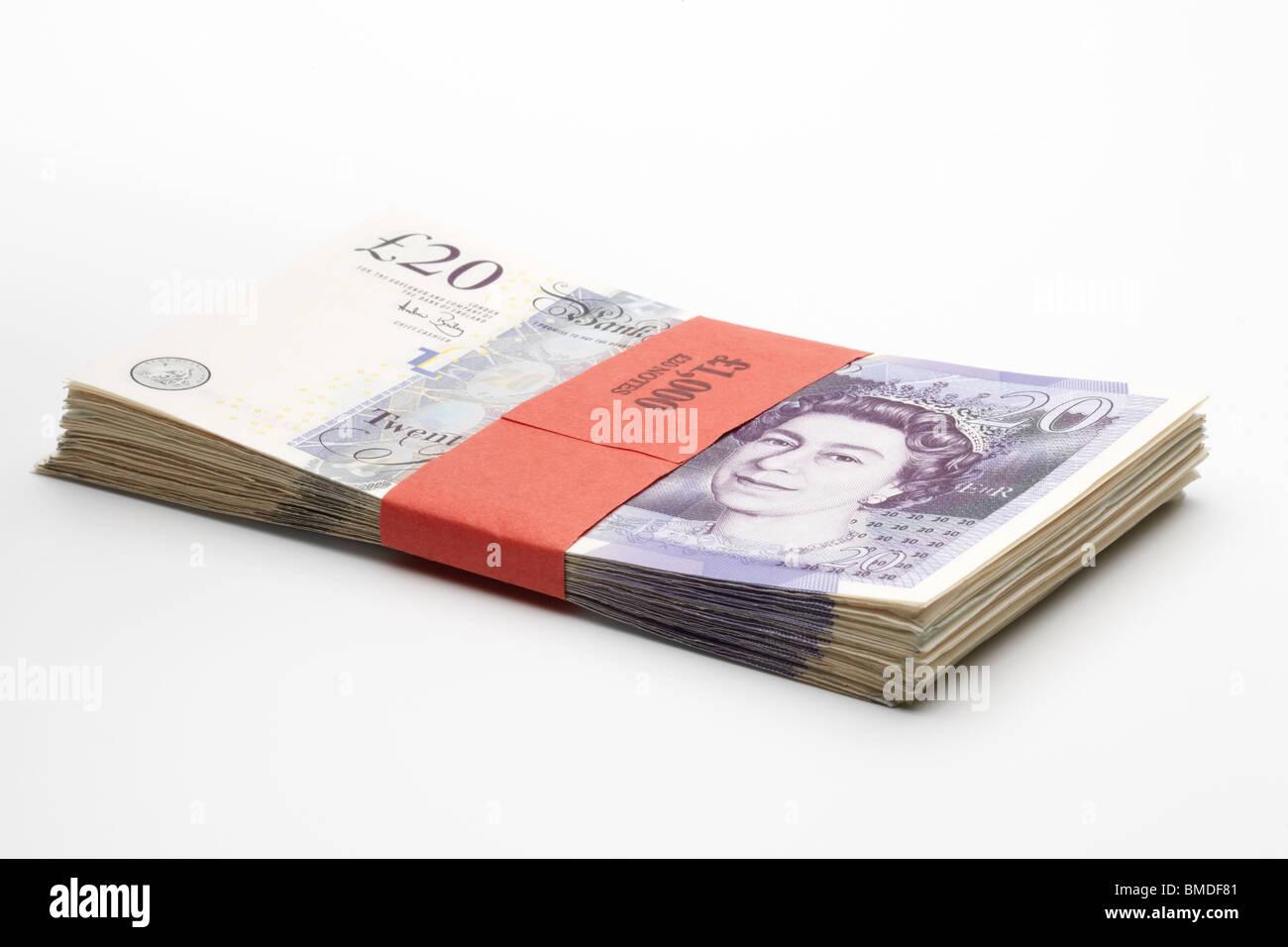 One Thousand Pound Bundle in Twenty Pound Notes Stock Photo