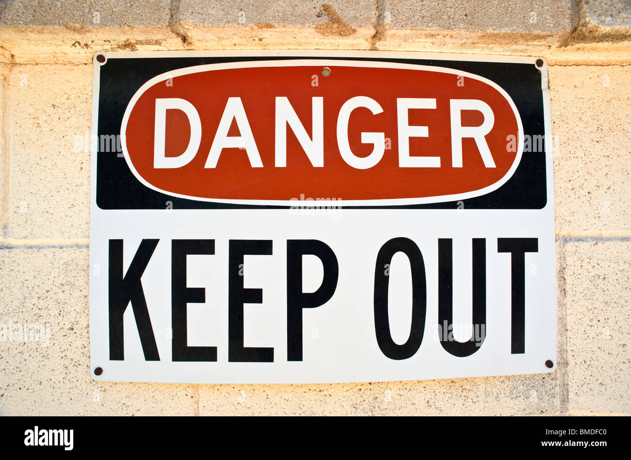 A warning sign like this should always be heeded, in Encino, New Mexico. - Stock Image