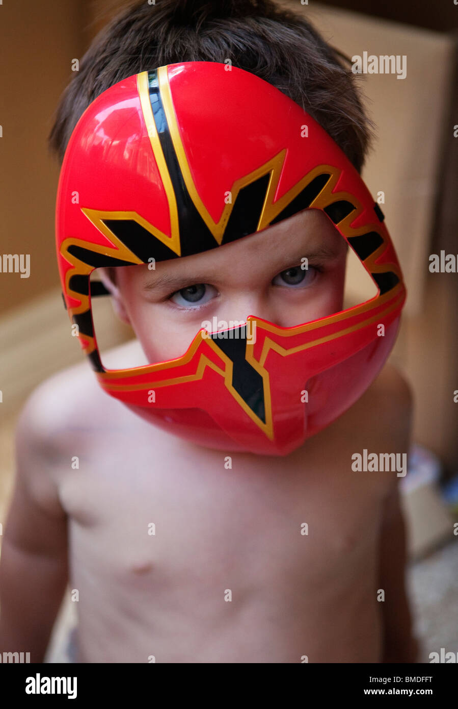Young boy in super hero mask - Stock Image