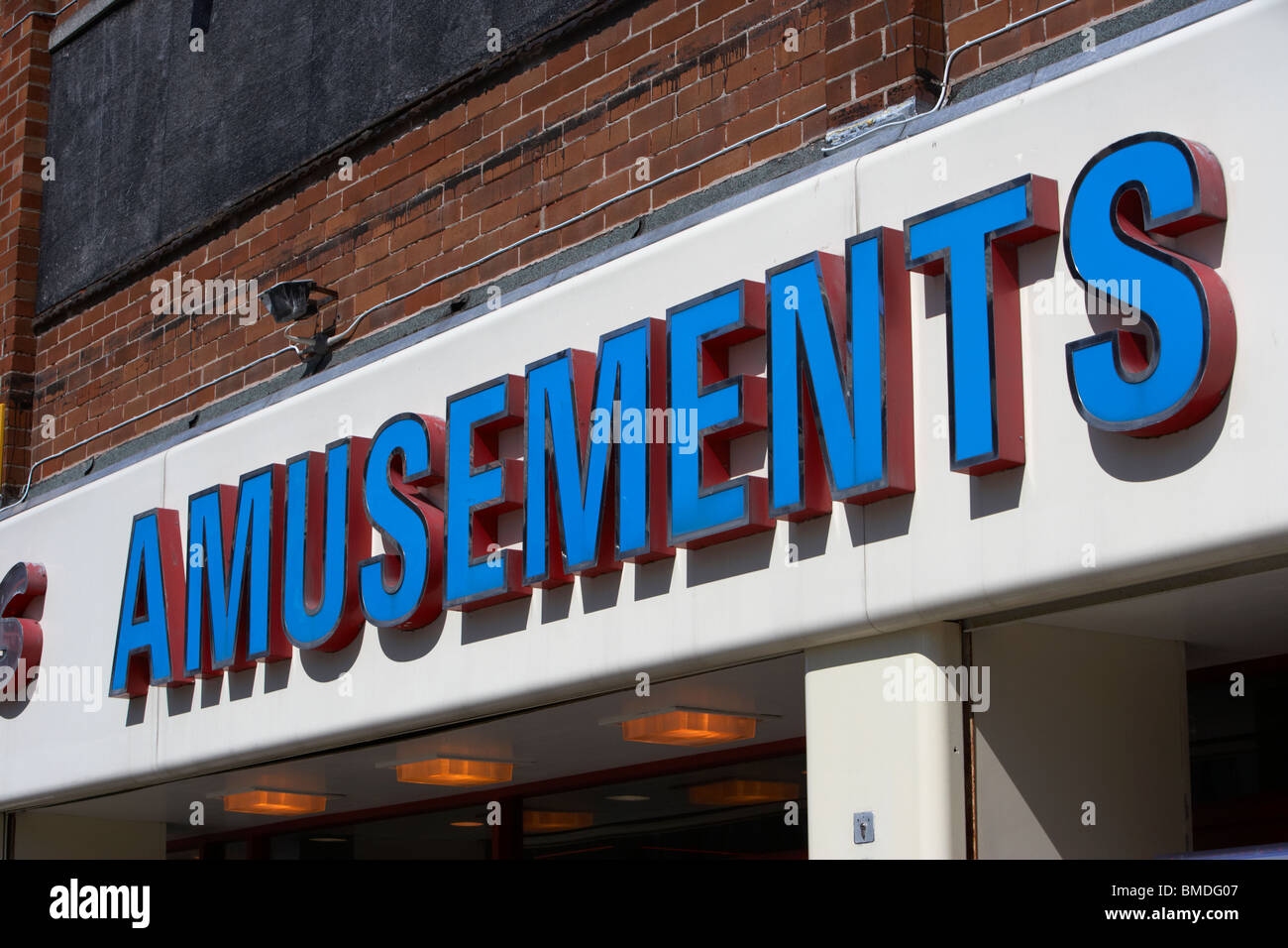 amusements sign over an amusement arcade in southport merseyside england uk - Stock Image