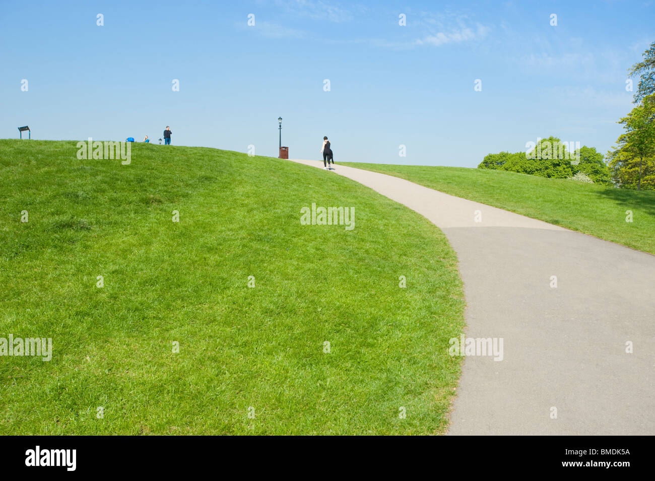 Pathway leading to the top of Primrose Hill, London, England, UK. - Stock Image