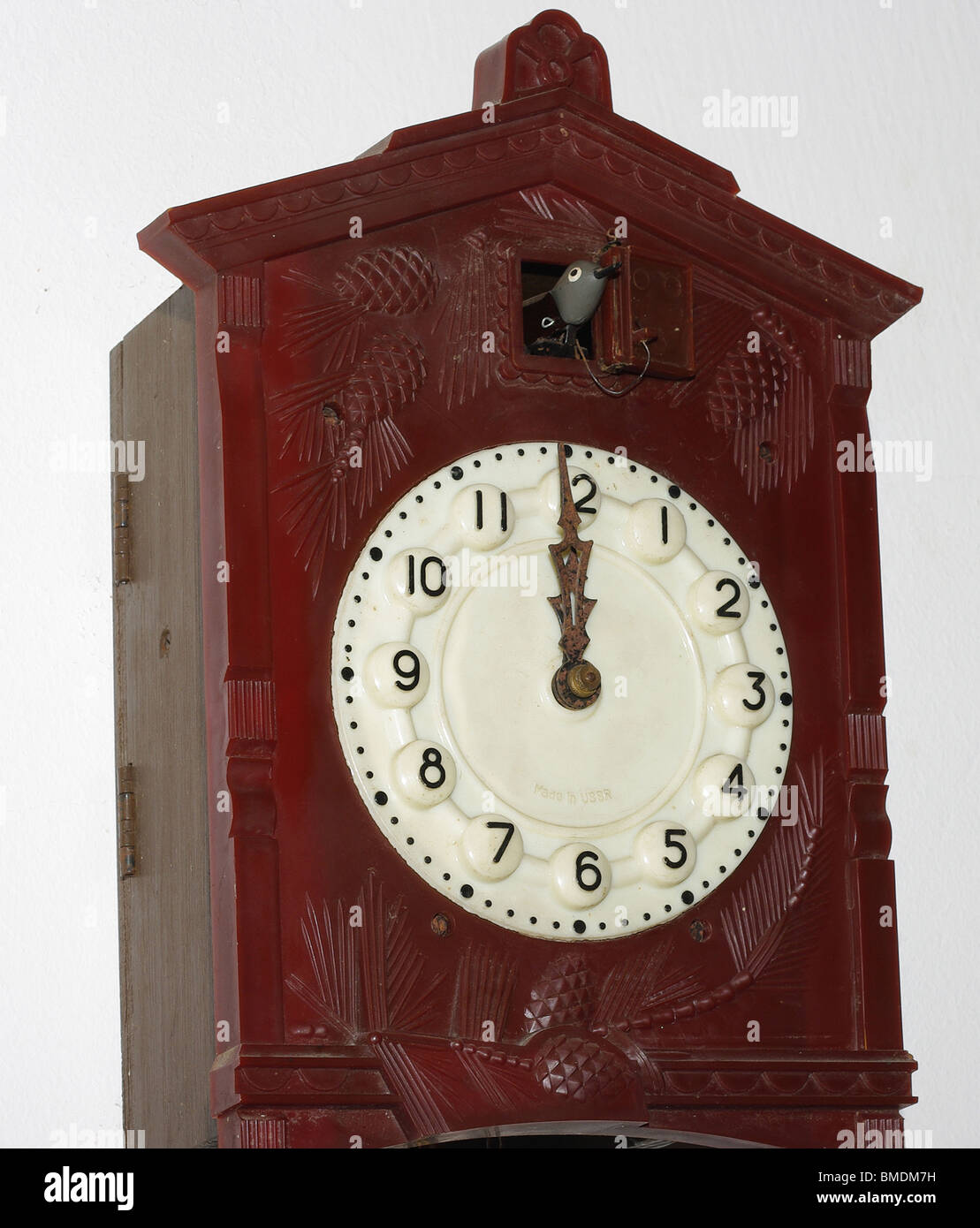 Old Soviet cuckoo clock. made in USSR - Stock Image