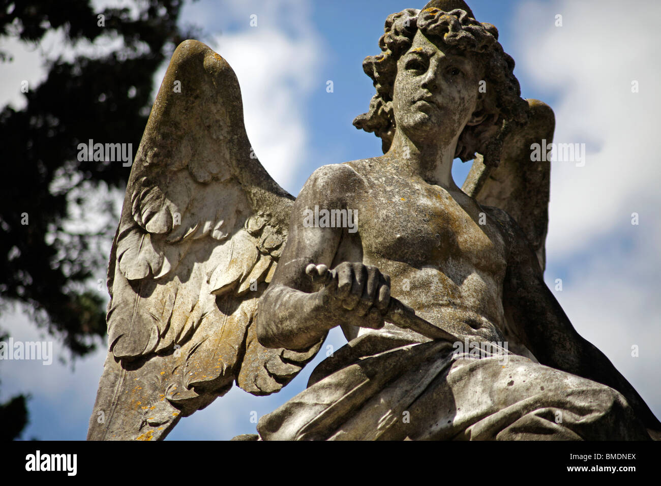 Angel on the Prazeres Cemetery in Lisbon, Portugal, Europe - Stock Image