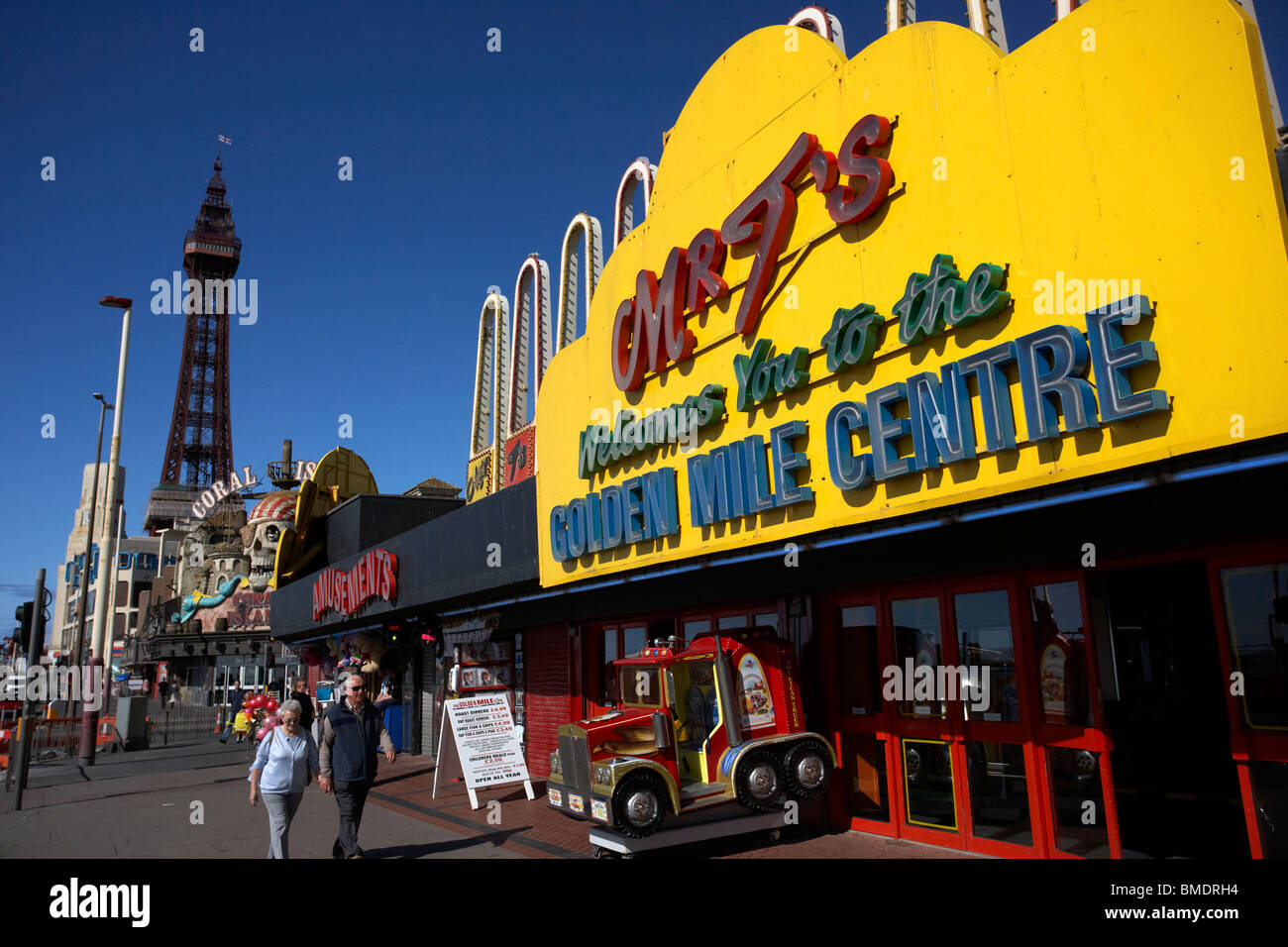 Blackpool golden mile centre and tower on the seafront promenade lancashire england uk - Stock Image