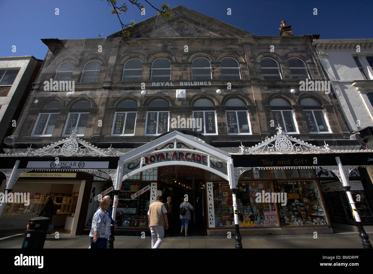 renovated victorian verandas at royal arcade lord street southport merseyside england uk - Stock Image