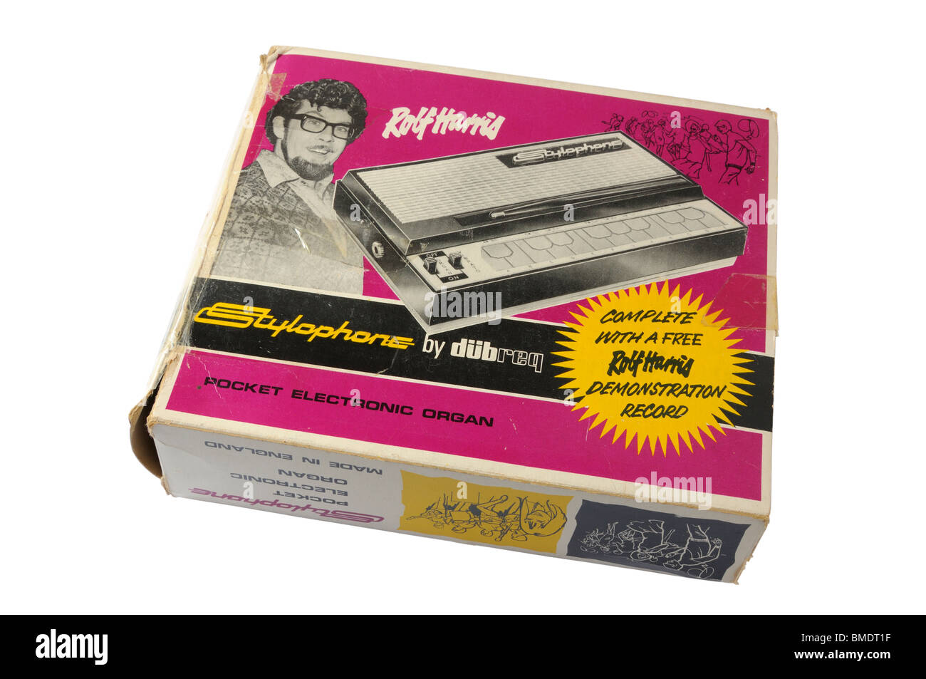 Box for the original 1960's stylophone electronic instrument - Stock Image