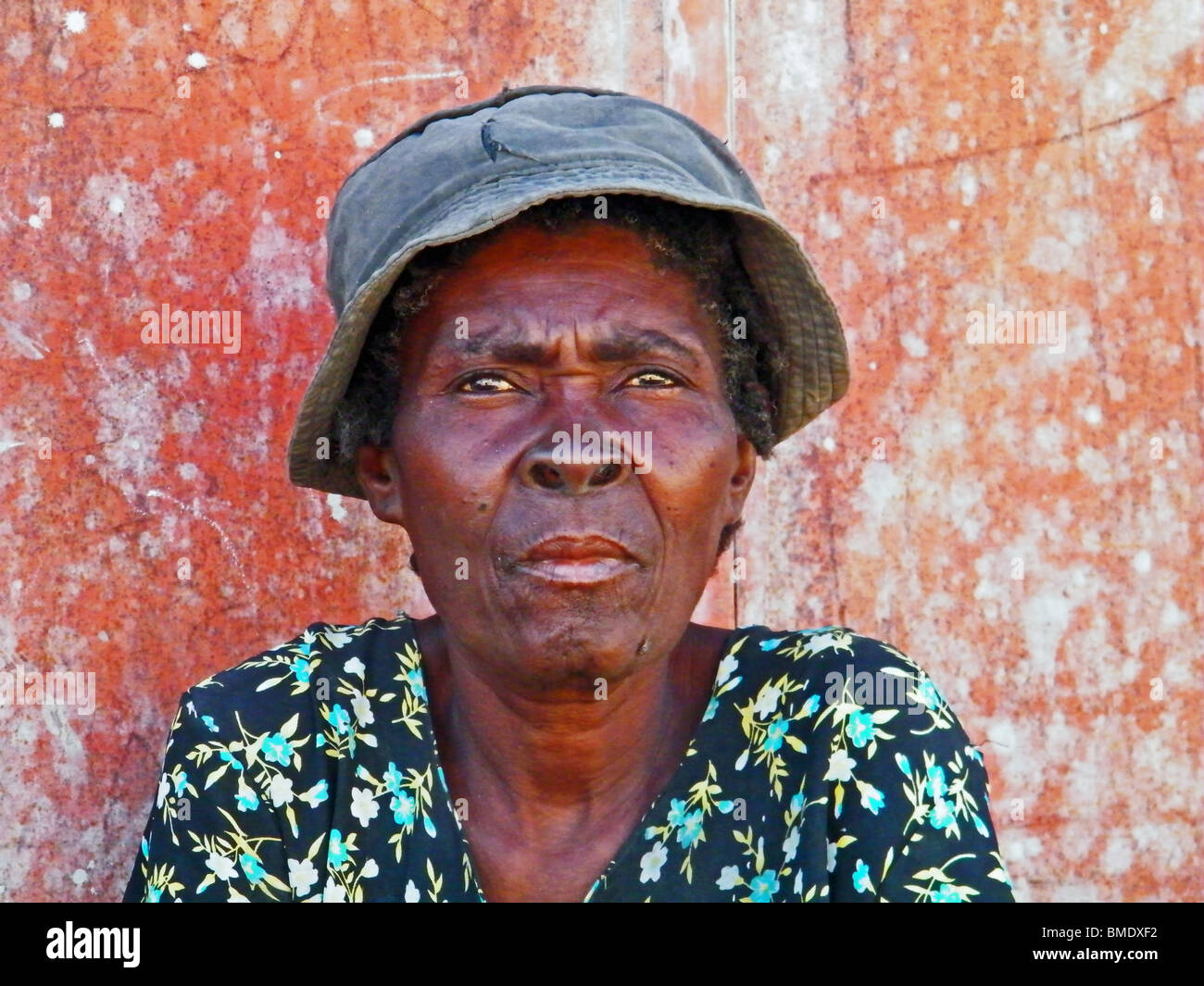Portrait of an old woman in Gonaives, Haiti Stock Photo