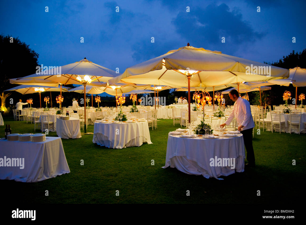 Outdoor Wedding Dinner Table Arrangement At Night Stock