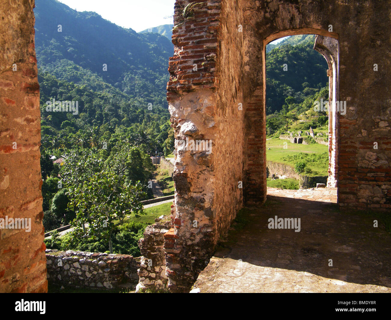 View from the ruins of the Sans Souci palace near Cap Haitien, Haiti - Stock Image