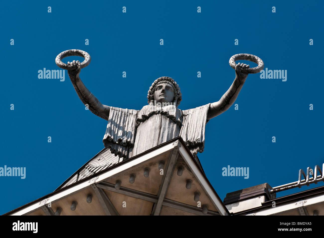 Statue holding laurels by Otto Wagner, Österreichische Postsparkasse (Austrian Postal Savings Bank) building, - Stock Image