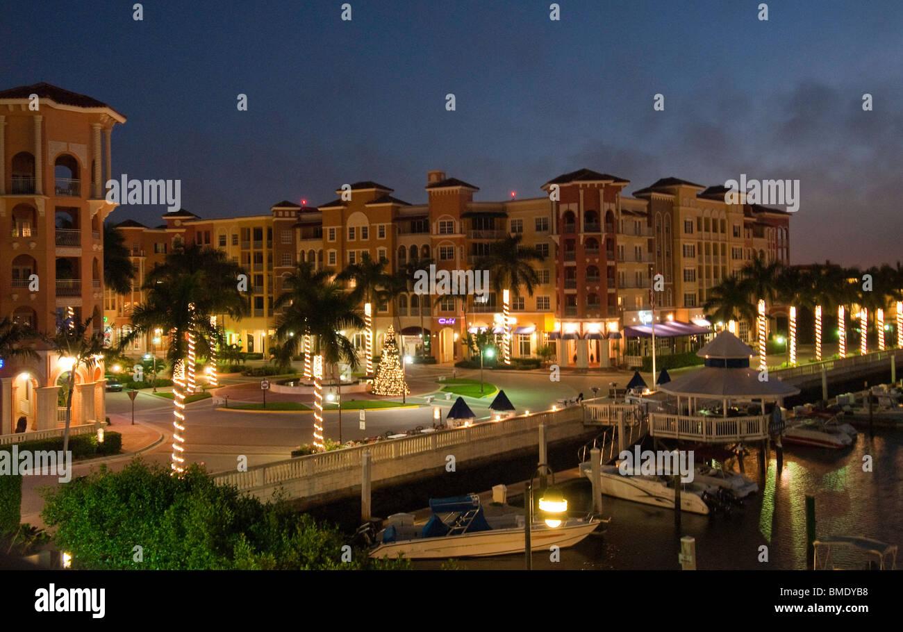 Bayfront, an upscale colorful European style development on Naples Bay, Naples, Florida, USA - Stock Image