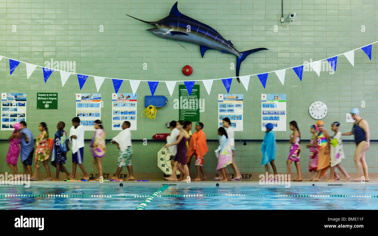 St Mary's Recreation Center attempts to set the Guinness World Record for World's Largest Swimming Lesson - Stock Image