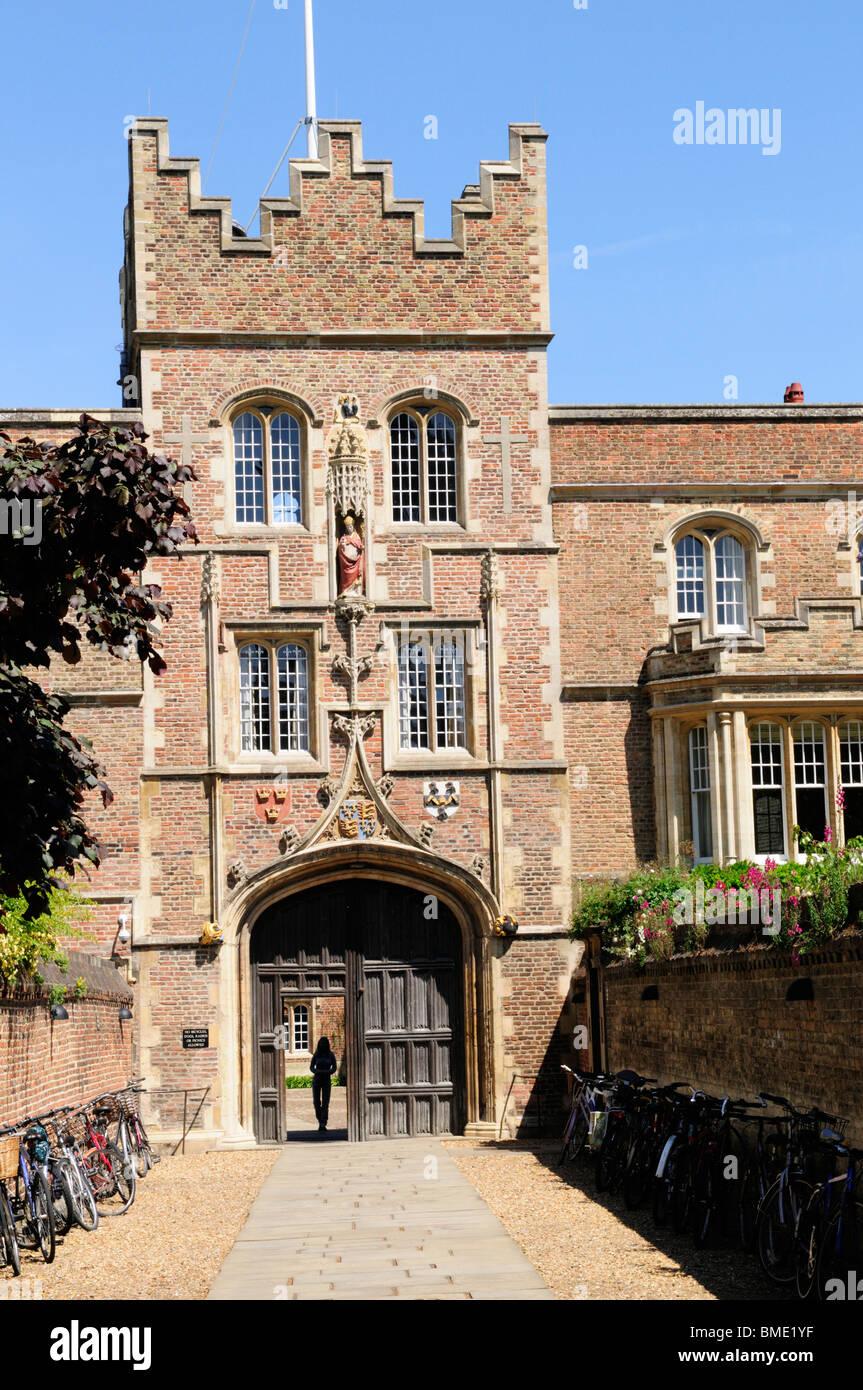 Jesus College Gatehouse, Cambridge, England, UK - Stock Image