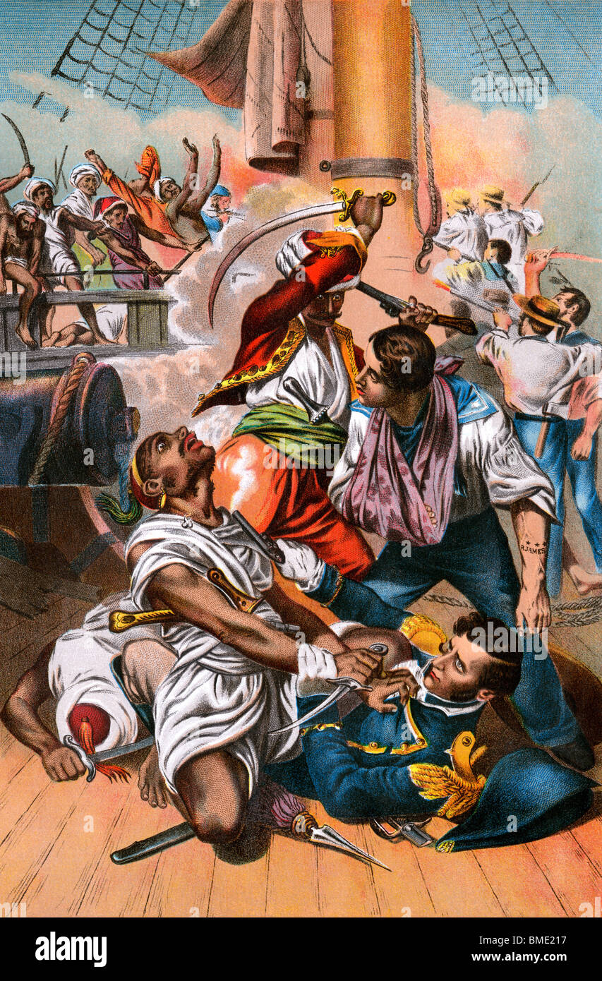 Commodore Stephen Decatur's life saved in a shipboard battle off Algeria. Color lithograph - Stock Image