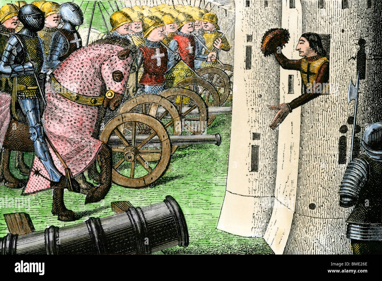 Capture of Alencon during the Hundred Years'  War, 1400s. Hand-colored woodcut - Stock Image