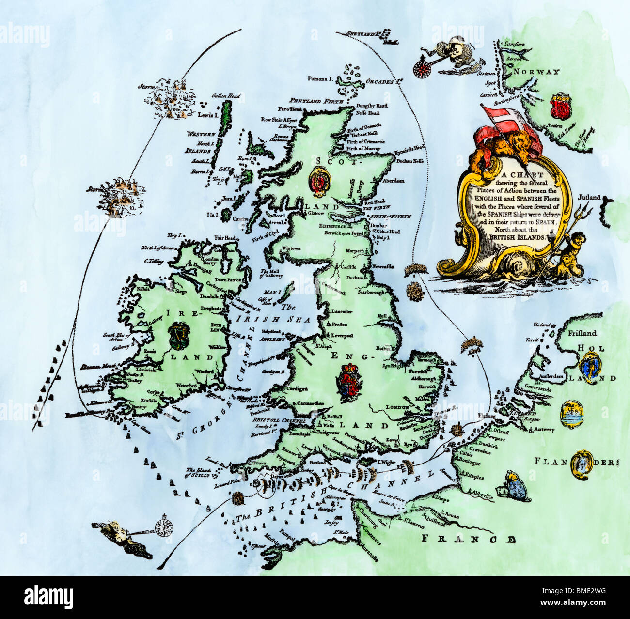 Map Of Spanish Armada High Resolution Stock Photography And Images Alamy