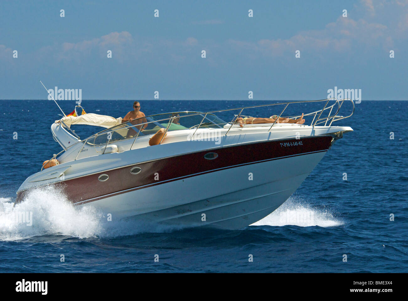 Speedboat in the Mediterranean off the coast of Mallorca in Spain. - Stock Image